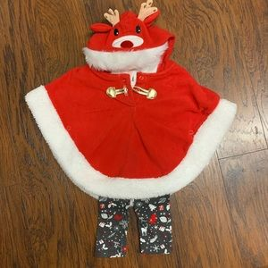 Little Lass 3 Piece Christmas Outfit. Hooded Cape